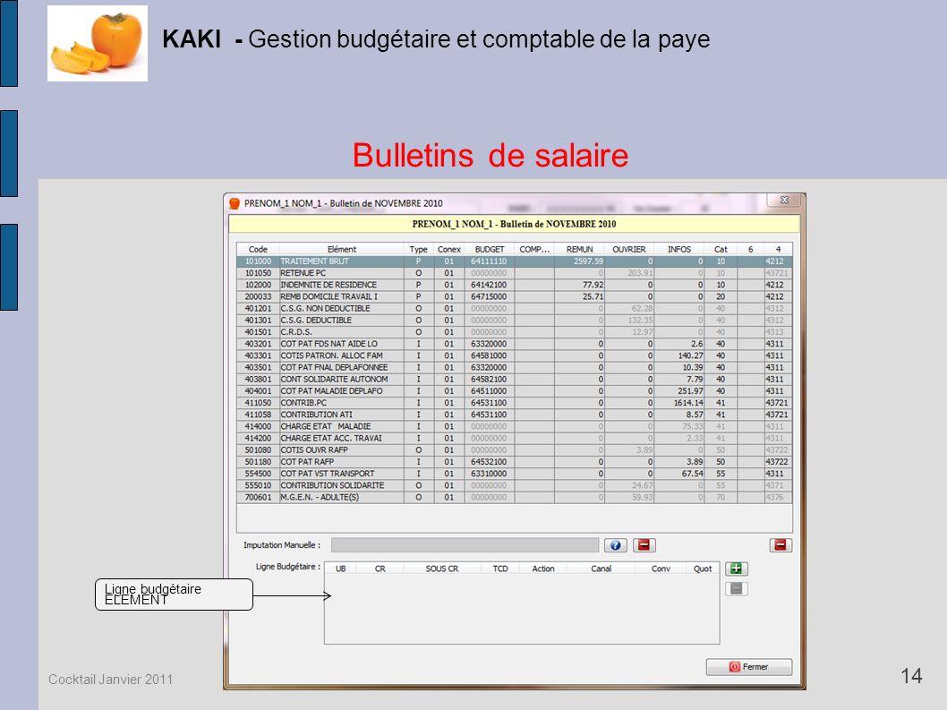 Bulletins de salaire KAKI - Gestion budgétaire et comptable de la paye 14 Cocktail Janvier 2011 Ligne budgétaire ELEMENT