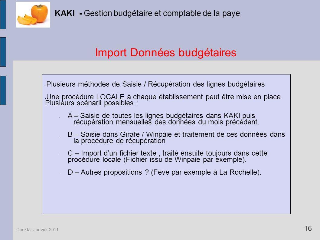 Import Données budgétaires KAKI - Gestion budgétaire et comptable de la paye 16 Cocktail Janvier 2011 - Plusieurs méthodes de Saisie / Récupération de