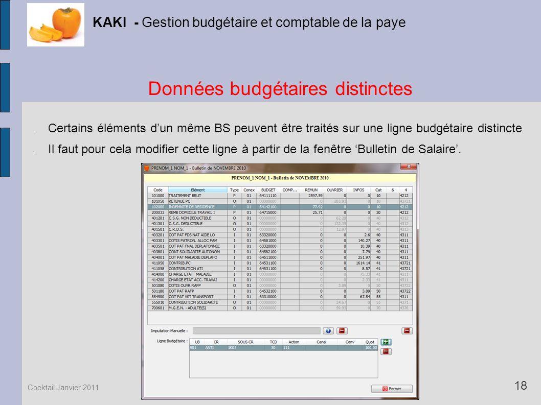 Données budgétaires distinctes KAKI - Gestion budgétaire et comptable de la paye 18 Cocktail Janvier 2011 - Certains éléments dun même BS peuvent être