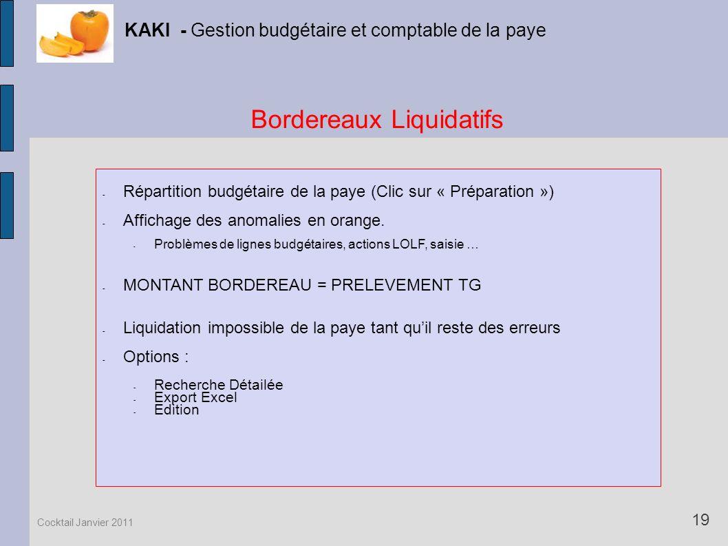 Bordereaux Liquidatifs KAKI - Gestion budgétaire et comptable de la paye 19 Cocktail Janvier 2011 - Répartition budgétaire de la paye (Clic sur « Prép