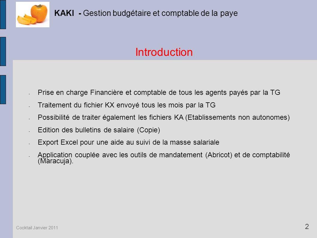 - Prise en charge Financière et comptable de tous les agents payés par la TG - Traitement du fichier KX envoyé tous les mois par la TG - Possibilité d