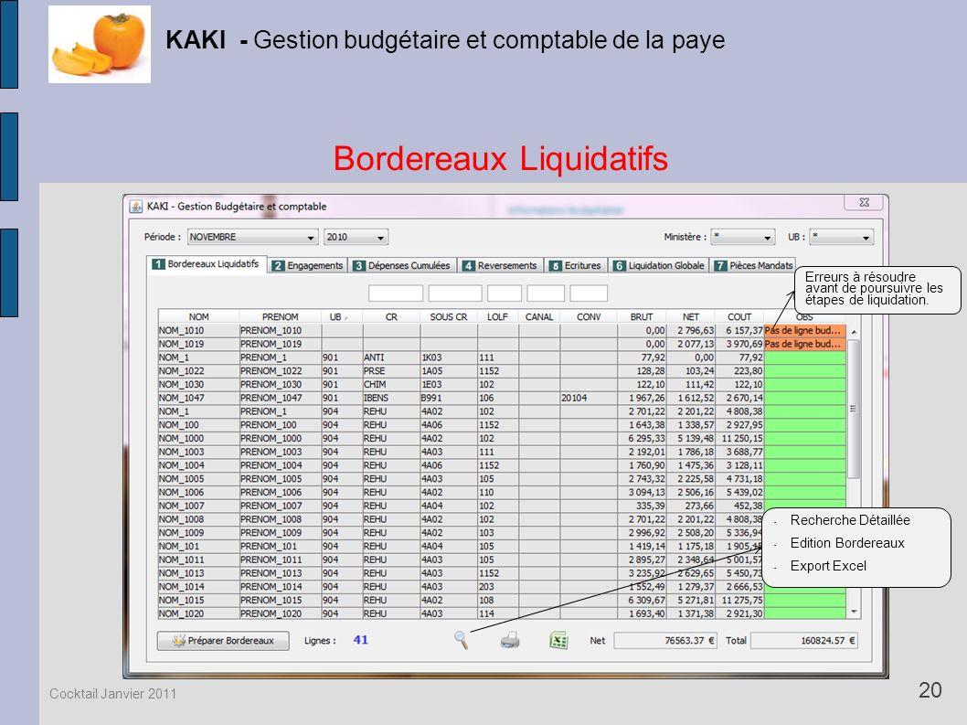 Bordereaux Liquidatifs KAKI - Gestion budgétaire et comptable de la paye 20 Cocktail Janvier 2011 Erreurs à résoudre avant de poursuivre les étapes de