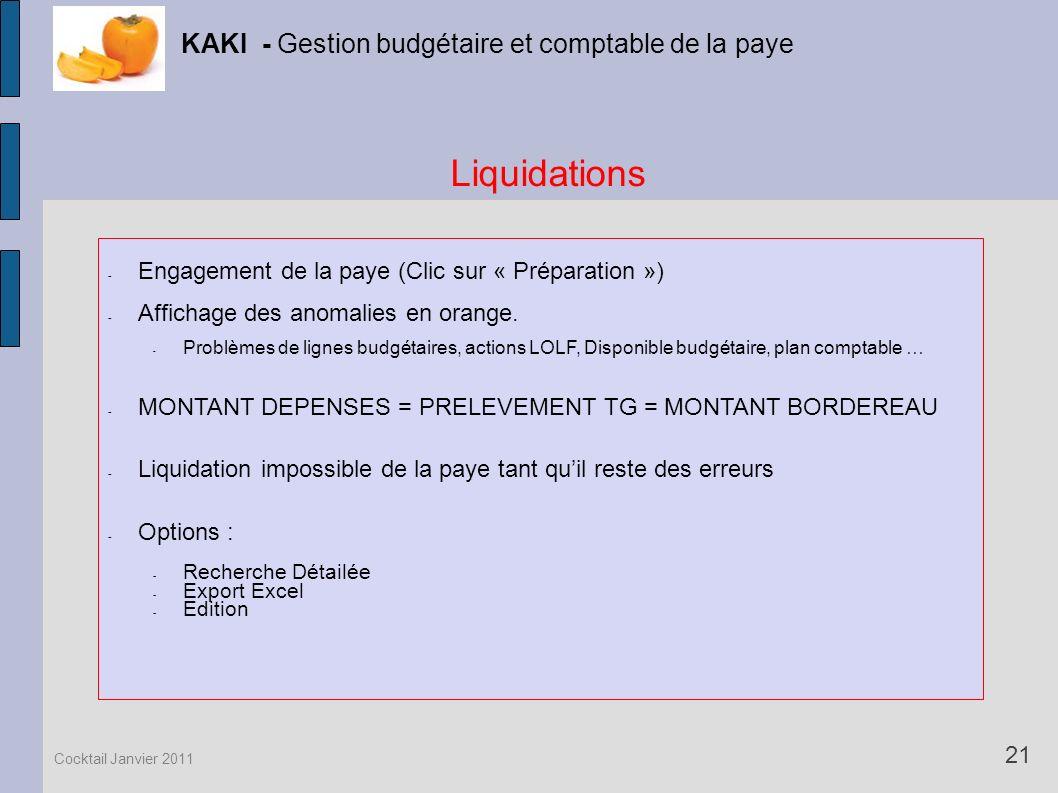 Liquidations KAKI - Gestion budgétaire et comptable de la paye 21 Cocktail Janvier 2011 - Engagement de la paye (Clic sur « Préparation ») - Affichage