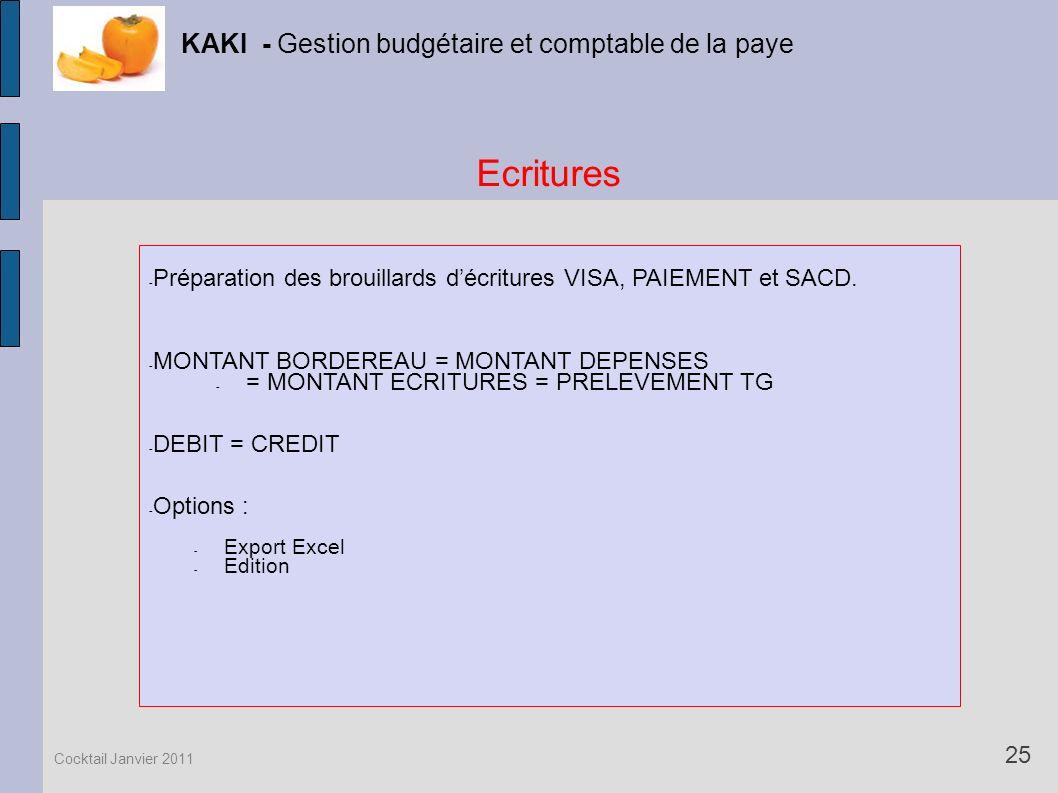 Ecritures KAKI - Gestion budgétaire et comptable de la paye 25 Cocktail Janvier 2011 - Préparation des brouillards décritures VISA, PAIEMENT et SACD.