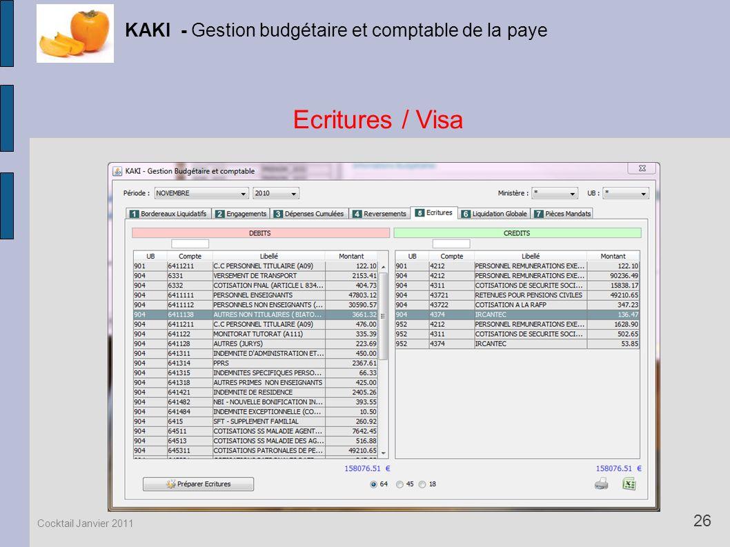 Ecritures / Visa KAKI - Gestion budgétaire et comptable de la paye 26 Cocktail Janvier 2011