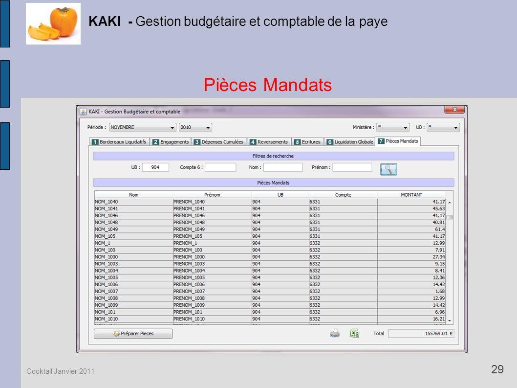 Pièces Mandats KAKI - Gestion budgétaire et comptable de la paye 29 Cocktail Janvier 2011