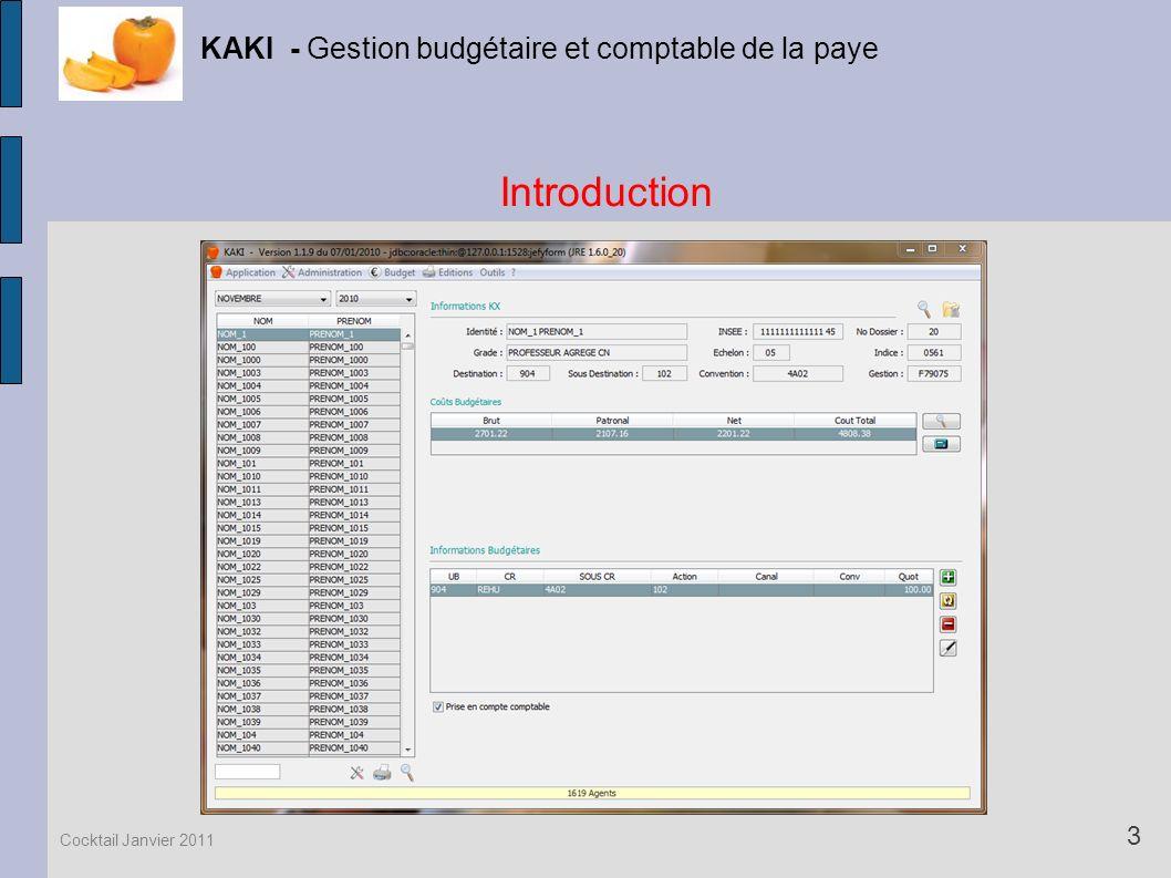 Introduction KAKI - Gestion budgétaire et comptable de la paye 3 Cocktail Janvier 2011