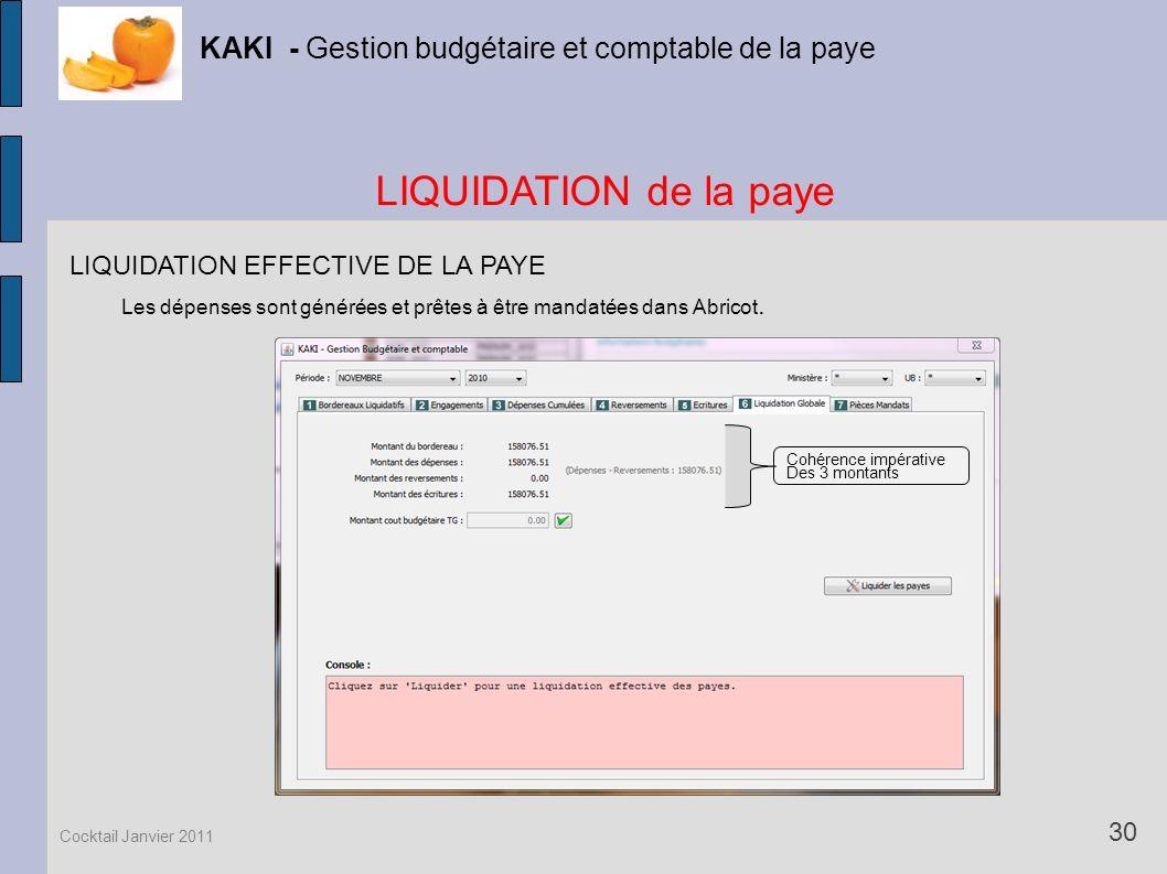 LIQUIDATION de la paye KAKI - Gestion budgétaire et comptable de la paye 30 Cocktail Janvier 2011 LIQUIDATION EFFECTIVE DE LA PAYE Les dépenses sont g