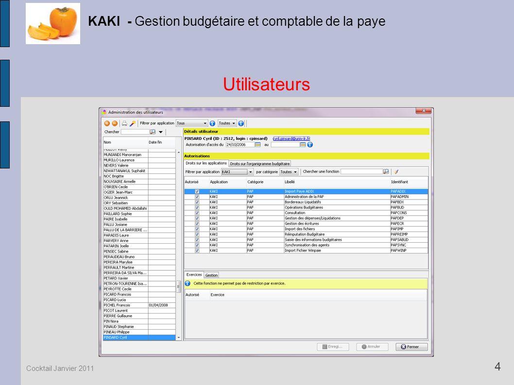 Utilisateurs KAKI - Gestion budgétaire et comptable de la paye 4 Cocktail Janvier 2011