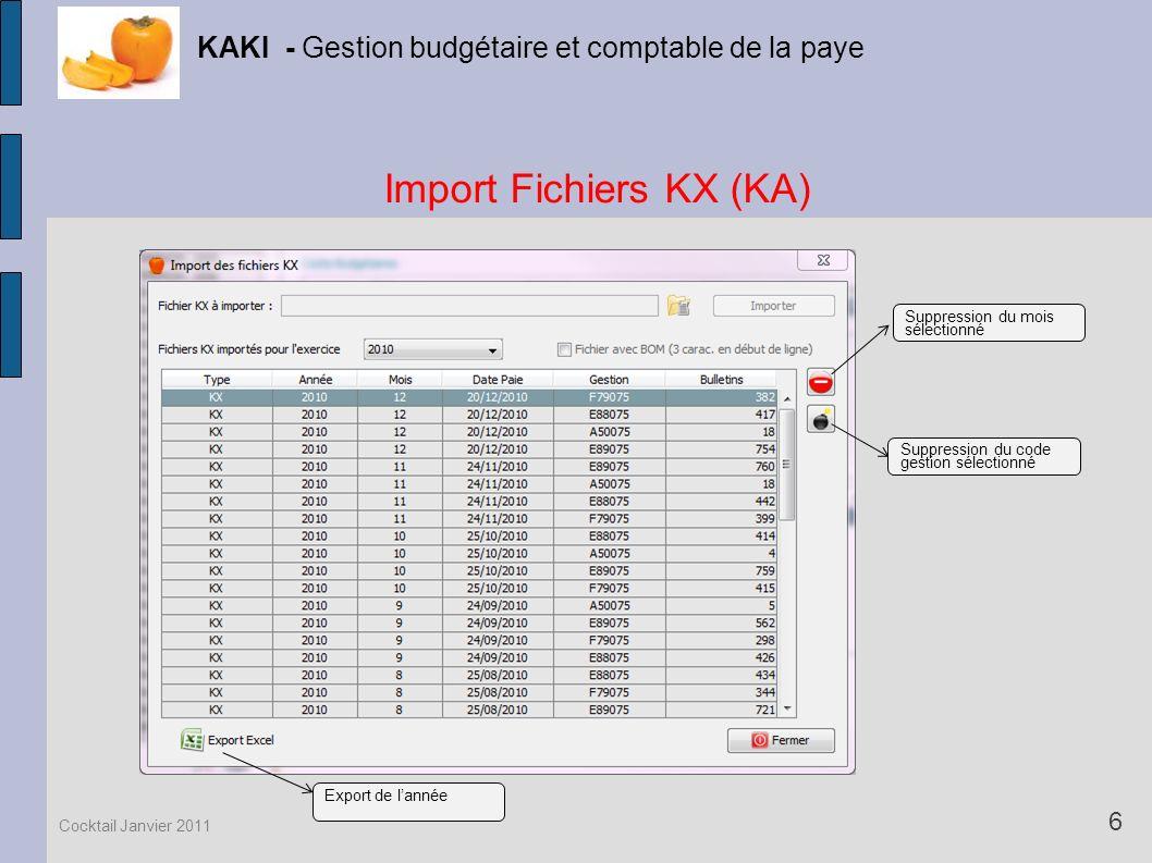 Import Fichiers KX (KA) KAKI - Gestion budgétaire et comptable de la paye 6 Cocktail Janvier 2011 Suppression du mois sélectionné Suppression du code