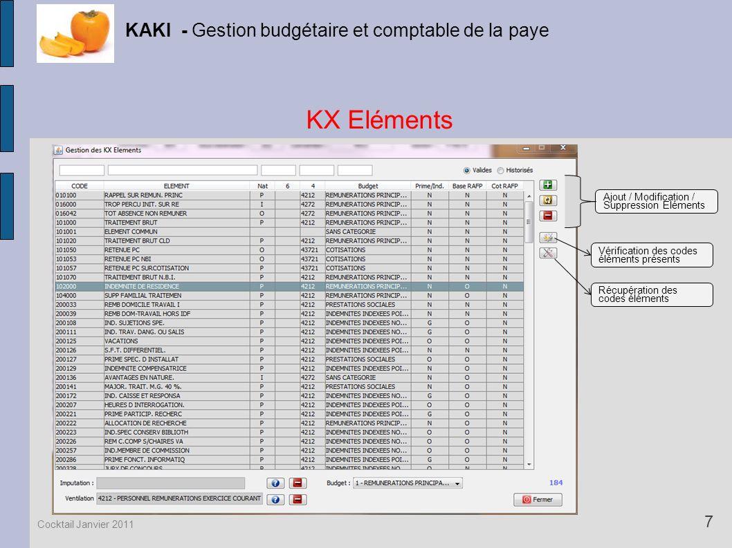 KX Eléments KAKI - Gestion budgétaire et comptable de la paye 7 Cocktail Janvier 2011 Vérification des codes éléments présents Récupération des codes