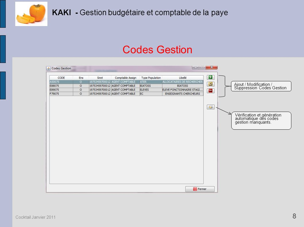 Codes Gestion KAKI - Gestion budgétaire et comptable de la paye 8 Cocktail Janvier 2011 Vérification et génération automatique des codes gestion manqu