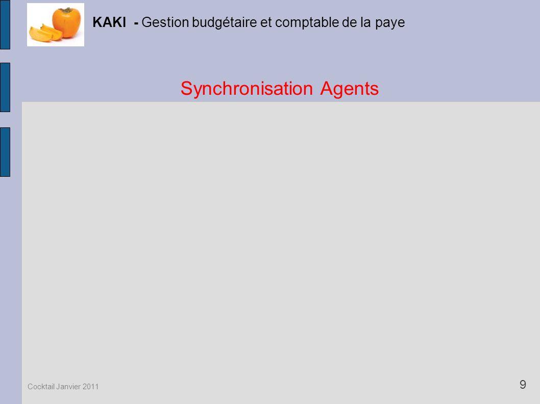 Synchronisation Agents KAKI - Gestion budgétaire et comptable de la paye 9 Cocktail Janvier 2011