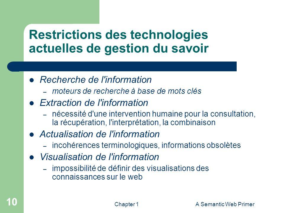 Chapter 1A Semantic Web Primer 10 Restrictions des technologies actuelles de gestion du savoir Recherche de l'information – moteurs de recherche à bas