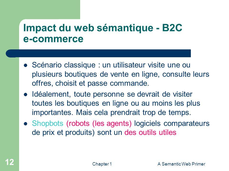 Chapter 1A Semantic Web Primer 12 Impact du web sémantique - B2C e-commerce Scénario classique : un utilisateur visite une ou plusieurs boutiques de v