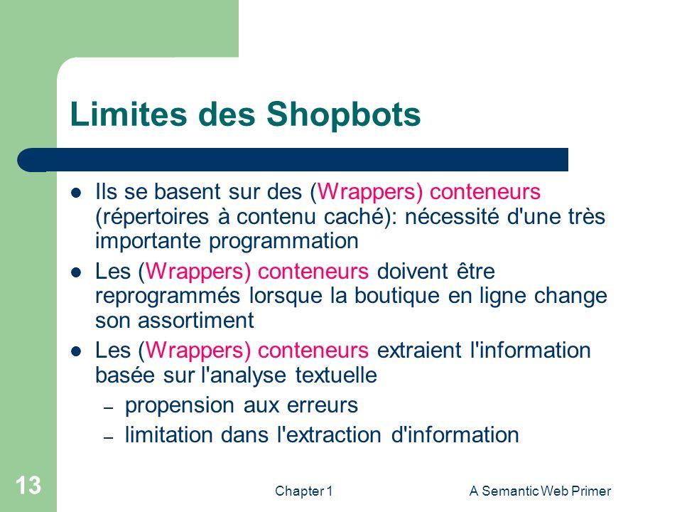 Chapter 1A Semantic Web Primer 13 Limites des Shopbots Ils se basent sur des (Wrappers) conteneurs (répertoires à contenu caché): nécessité d'une très