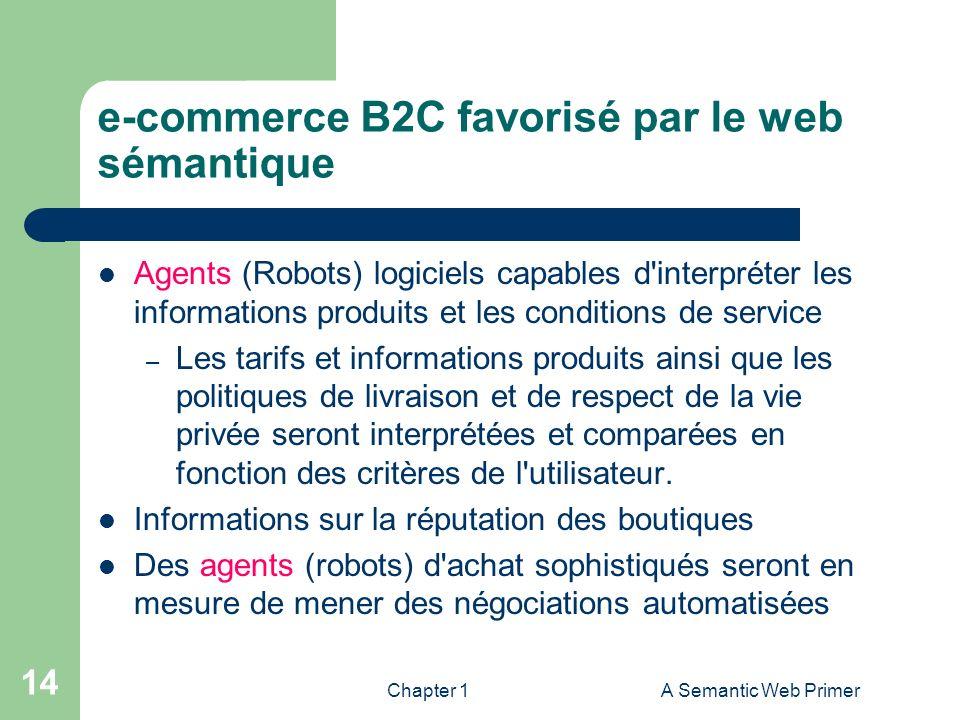 Chapter 1A Semantic Web Primer 14 e-commerce B2C favorisé par le web sémantique Agents (Robots) logiciels capables d'interpréter les informations prod