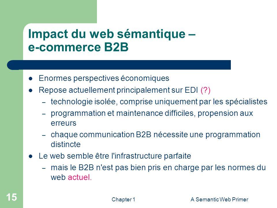 Chapter 1A Semantic Web Primer 15 Impact du web sémantique – e-commerce B2B Enormes perspectives économiques Repose actuellement principalement sur ED