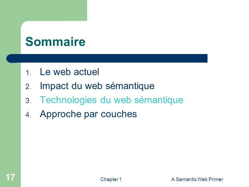 Chapter 1A Semantic Web Primer 17 Sommaire 1. Le web actuel 2. Impact du web sémantique 3. Technologies du web sémantique 4. Approche par couches