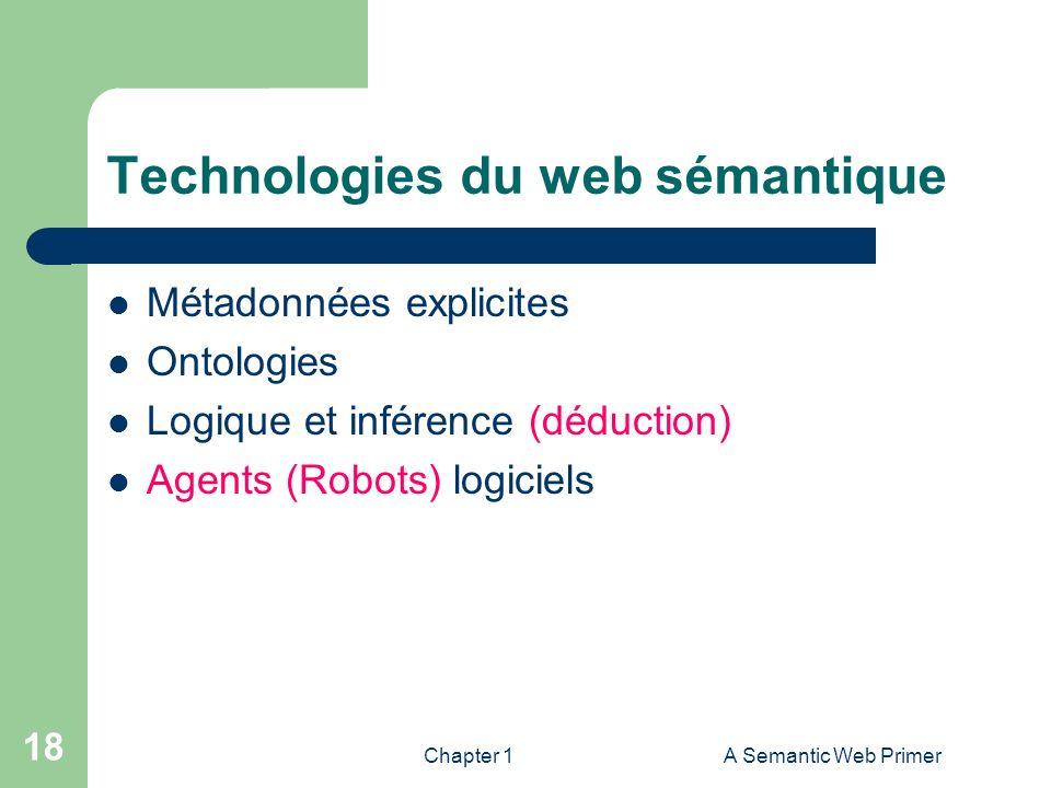 Chapter 1A Semantic Web Primer 18 Technologies du web sémantique Métadonnées explicites Ontologies Logique et inférence (déduction) Agents (Robots) lo