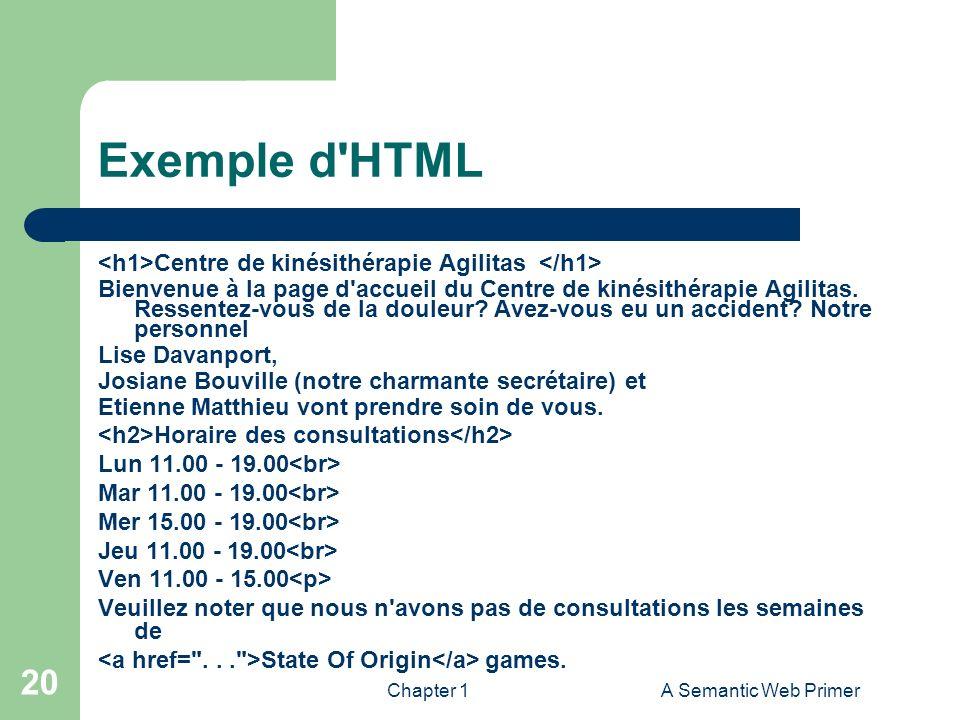 Chapter 1A Semantic Web Primer 20 Exemple d'HTML Centre de kinésithérapie Agilitas Bienvenue à la page d'accueil du Centre de kinésithérapie Agilitas.
