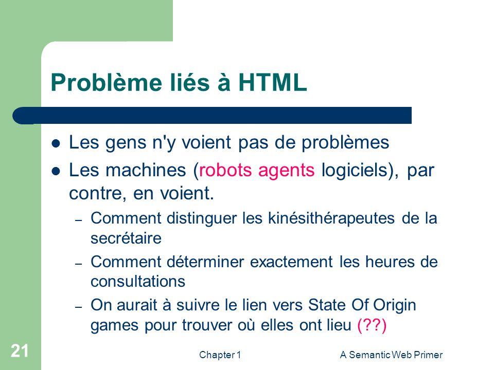 Chapter 1A Semantic Web Primer 21 Problème liés à HTML Les gens n'y voient pas de problèmes Les machines (robots agents logiciels), par contre, en voi