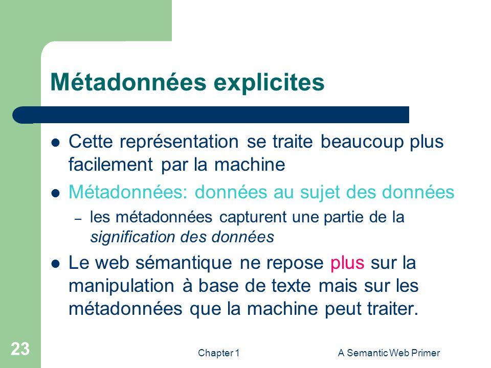 Chapter 1A Semantic Web Primer 23 Métadonnées explicites Cette représentation se traite beaucoup plus facilement par la machine Métadonnées: données a