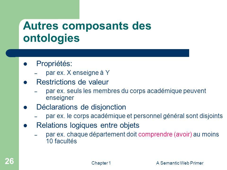 Chapter 1A Semantic Web Primer 26 Autres composants des ontologies Propriétés: – par ex. X enseigne à Y Restrictions de valeur – par ex. seuls les mem