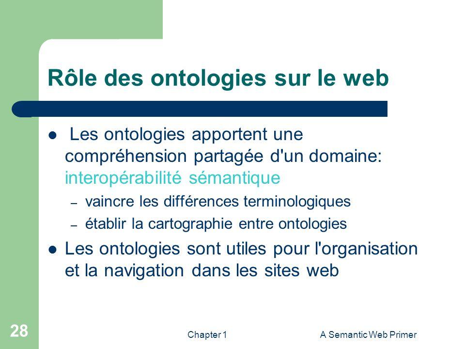 Chapter 1A Semantic Web Primer 28 Rôle des ontologies sur le web Les ontologies apportent une compréhension partagée d'un domaine: interopérabilité sé