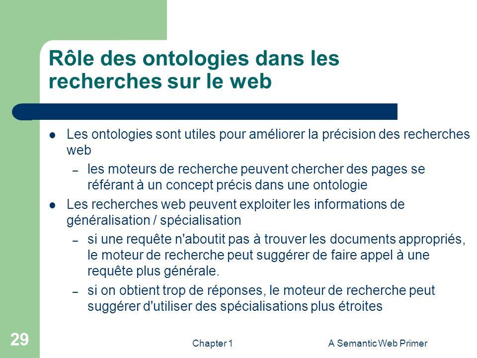 Chapter 1A Semantic Web Primer 29 Rôle des ontologies dans les recherches sur le web Les ontologies sont utiles pour améliorer la précision des recher