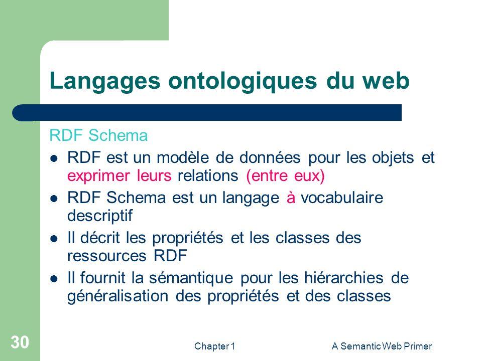 Chapter 1A Semantic Web Primer 30 Langages ontologiques du web RDF Schema RDF est un modèle de données pour les objets et exprimer leurs relations (en