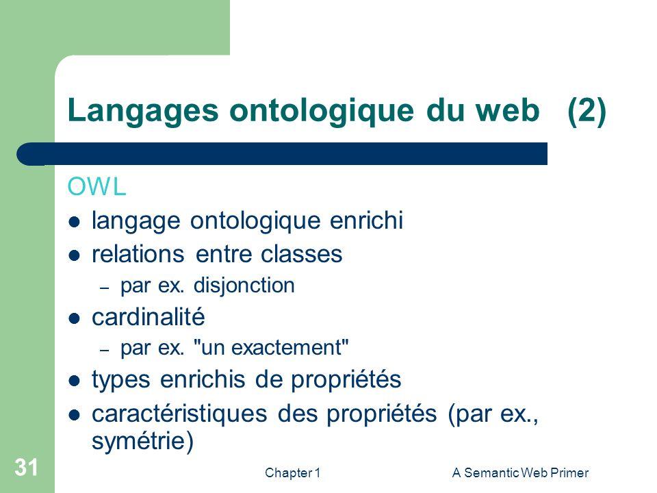 Chapter 1A Semantic Web Primer 31 Langages ontologique du web (2) OWL langage ontologique enrichi relations entre classes – par ex. disjonction cardin