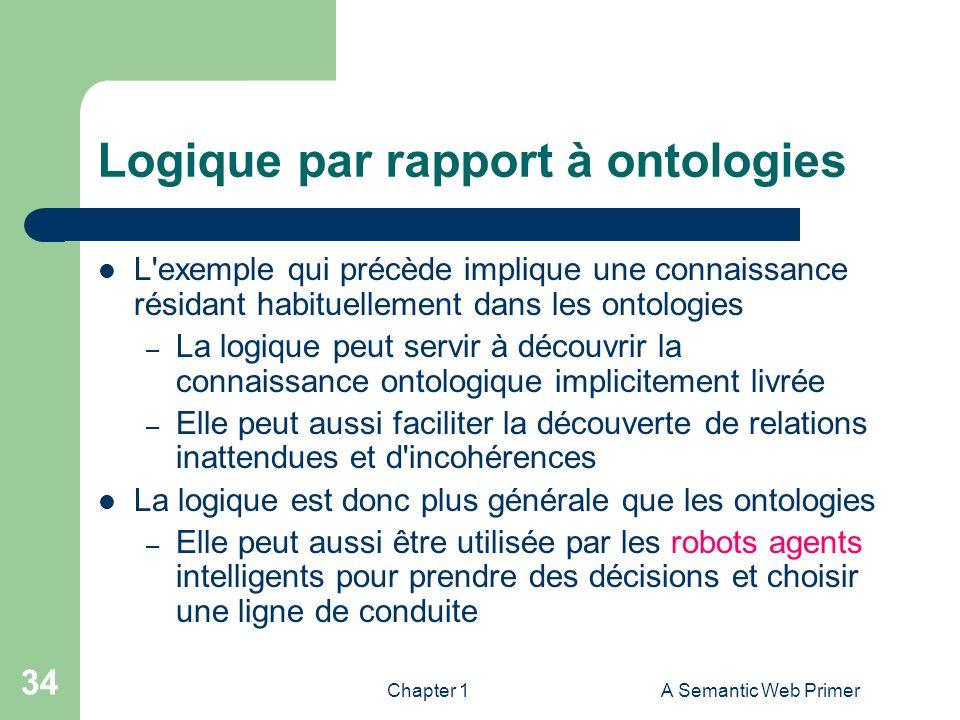 Chapter 1A Semantic Web Primer 34 Logique par rapport à ontologies L'exemple qui précède implique une connaissance résidant habituellement dans les on