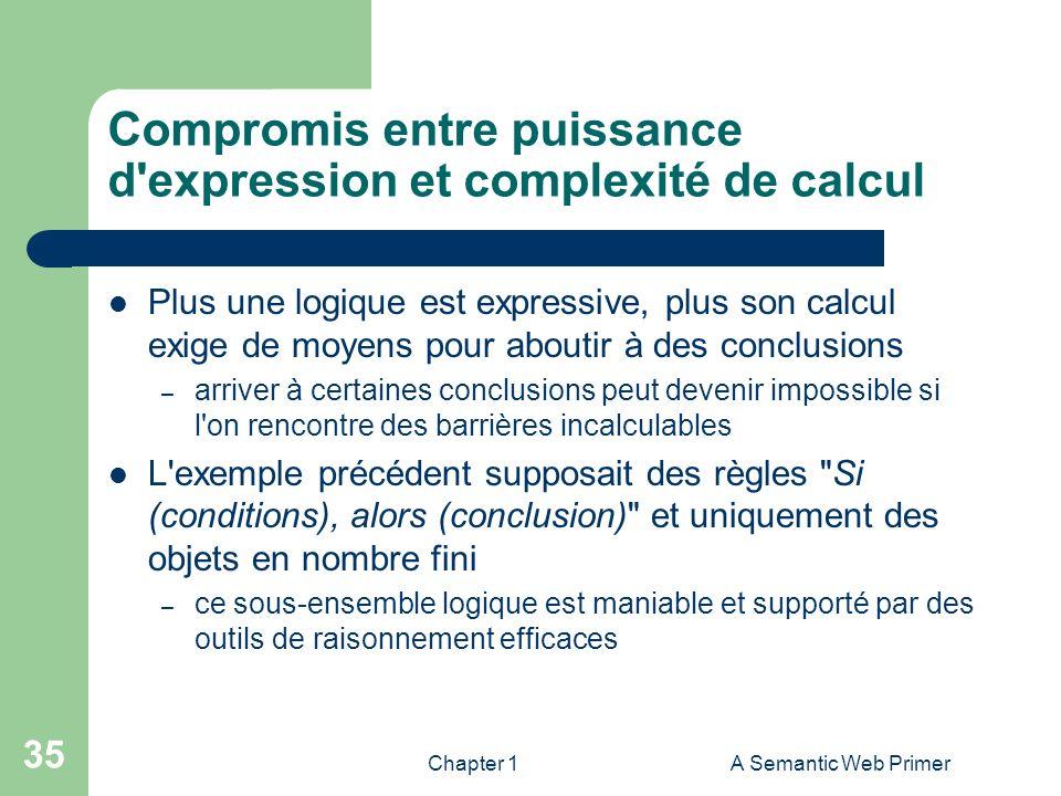 Chapter 1A Semantic Web Primer 35 Compromis entre puissance d'expression et complexité de calcul Plus une logique est expressive, plus son calcul exig