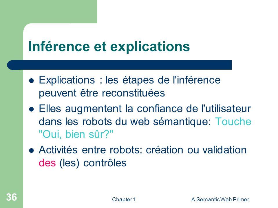 Chapter 1A Semantic Web Primer 36 Inférence et explications Explications : les étapes de l'inférence peuvent être reconstituées Elles augmentent la co