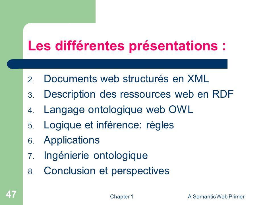 Chapter 1A Semantic Web Primer 47 Les différentes présentations : 2. Documents web structurés en XML 3. Description des ressources web en RDF 4. Langa