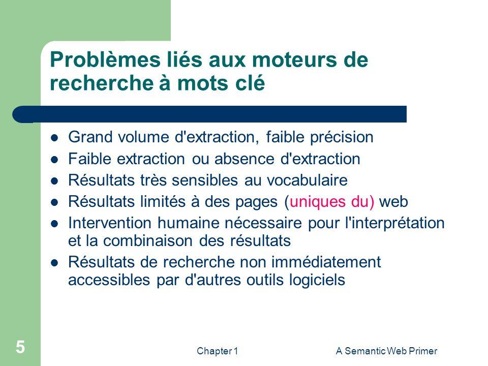 Chapter 1A Semantic Web Primer 5 Problèmes liés aux moteurs de recherche à mots clé Grand volume d'extraction, faible précision Faible extraction ou a