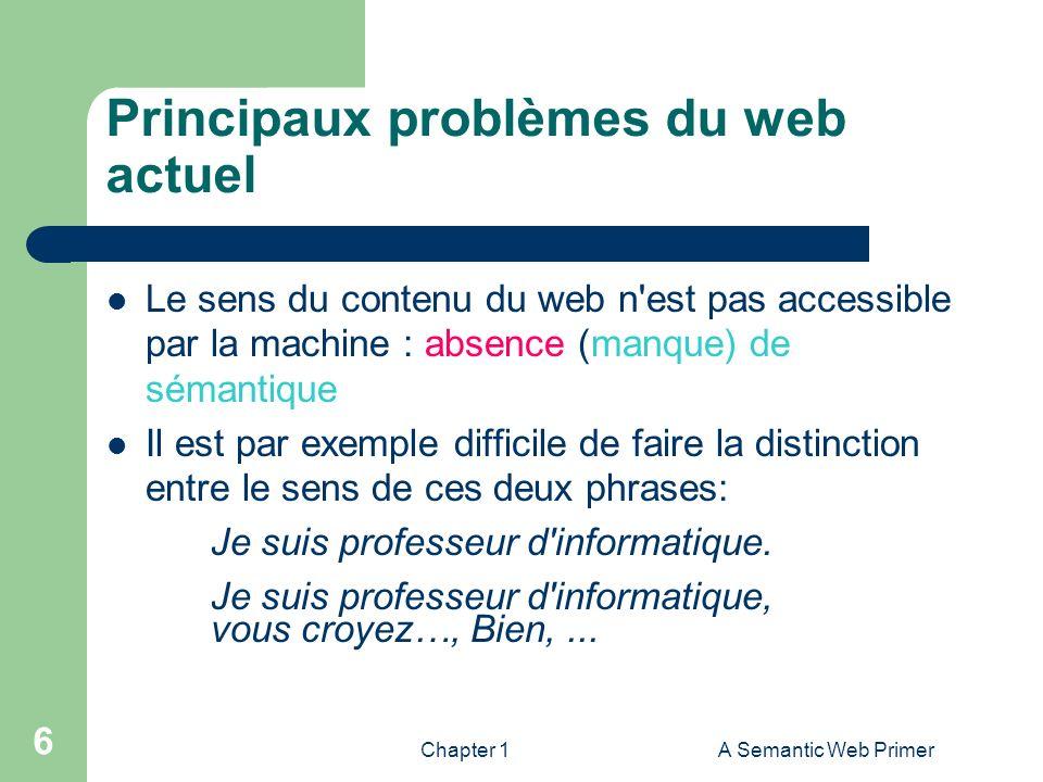 Chapter 1A Semantic Web Primer 6 Principaux problèmes du web actuel Le sens du contenu du web n'est pas accessible par la machine : absence (manque) d
