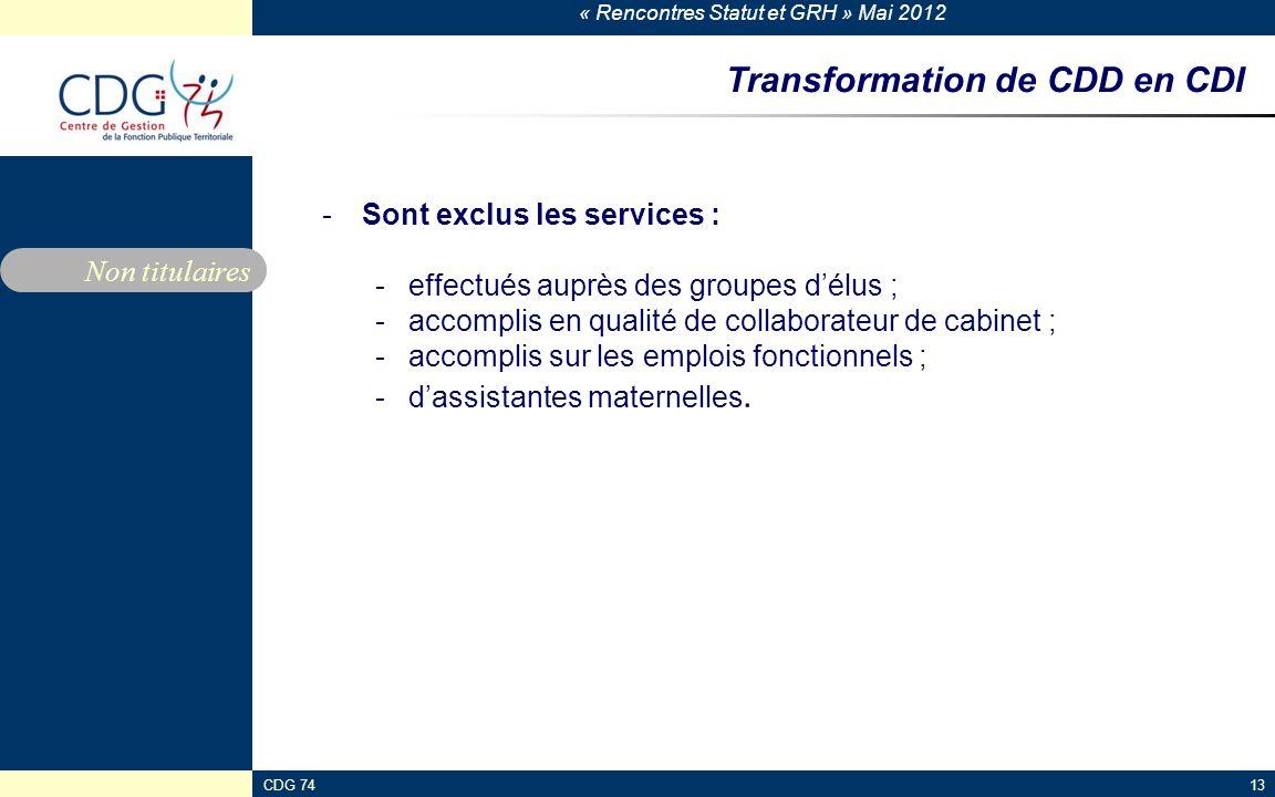« Rencontres Statut et GRH » Mai 2012 CDG 7413 Transformation de CDD en CDI -Sont exclus les services : -effectués auprès des groupes délus ; -accompl