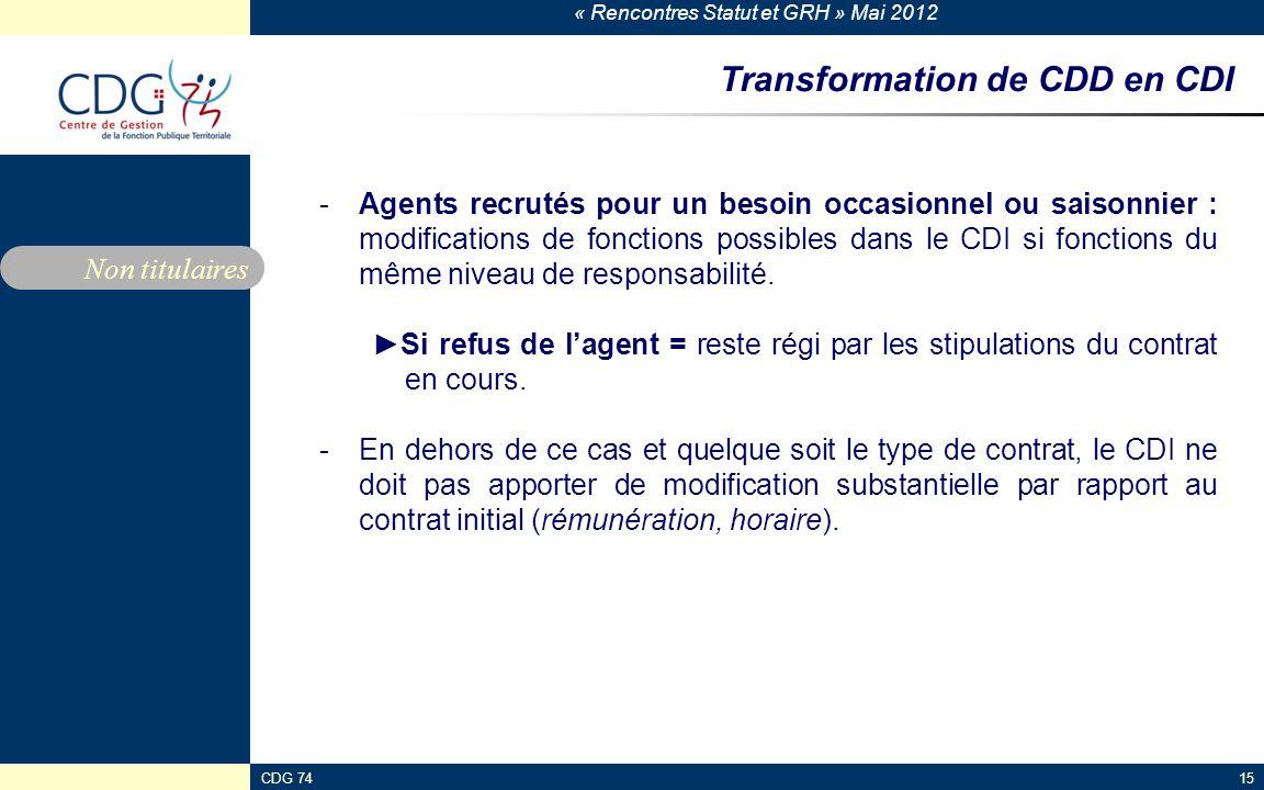 « Rencontres Statut et GRH » Mai 2012 CDG 7415 Transformation de CDD en CDI -Agents recrutés pour un besoin occasionnel ou saisonnier : modifications