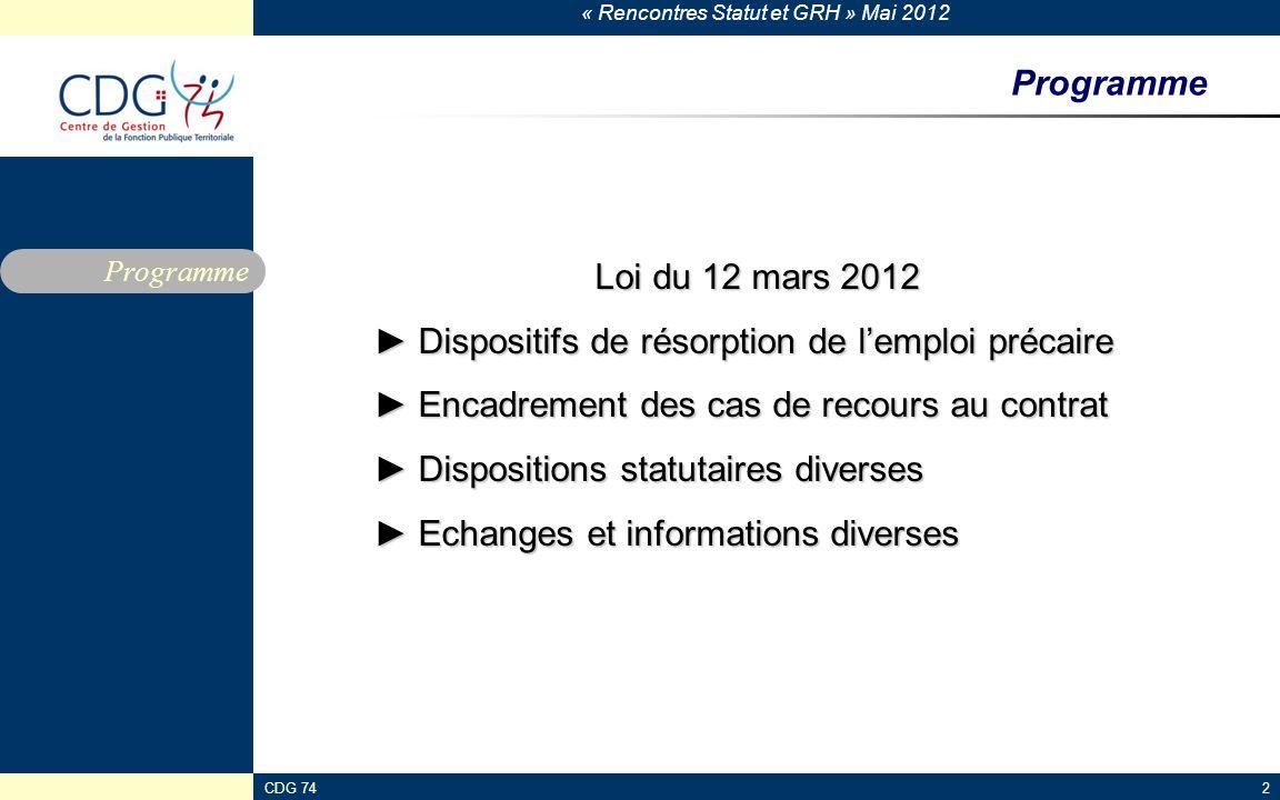 « Rencontres Statut et GRH » Mai 2012 CDG 742 Programme Loi du 12 mars 2012 Dispositifs de résorption de lemploi précaire Dispositifs de résorption de