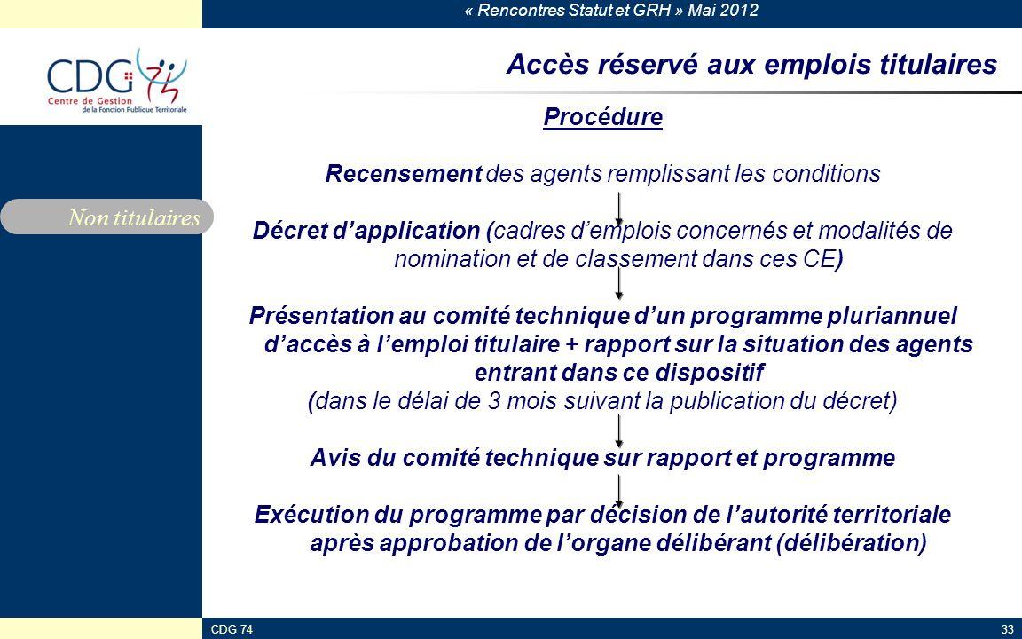 « Rencontres Statut et GRH » Mai 2012 CDG 7433 Accès réservé aux emplois titulaires Procédure Recensement des agents remplissant les conditions Décret