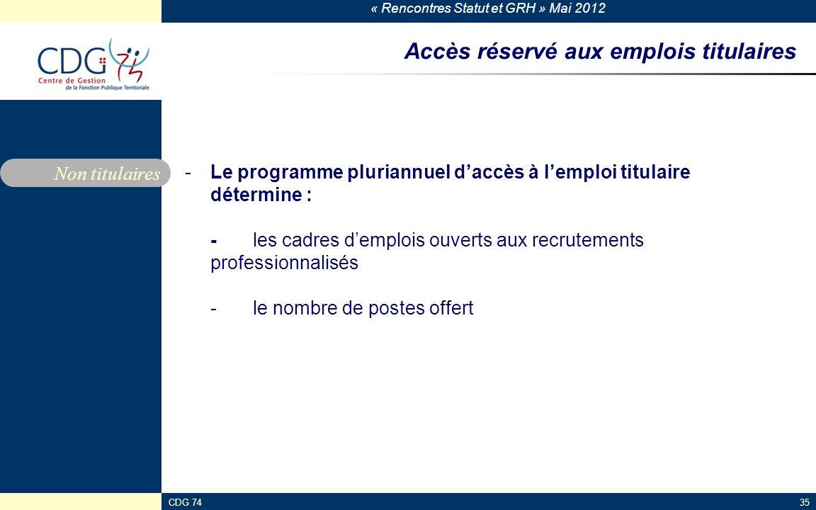 « Rencontres Statut et GRH » Mai 2012 CDG 7435 Accès réservé aux emplois titulaires -Le programme pluriannuel daccès à lemploi titulaire détermine : -