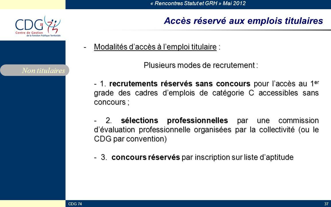 « Rencontres Statut et GRH » Mai 2012 CDG 7437 Accès réservé aux emplois titulaires -Modalités daccès à lemploi titulaire : Plusieurs modes de recrute