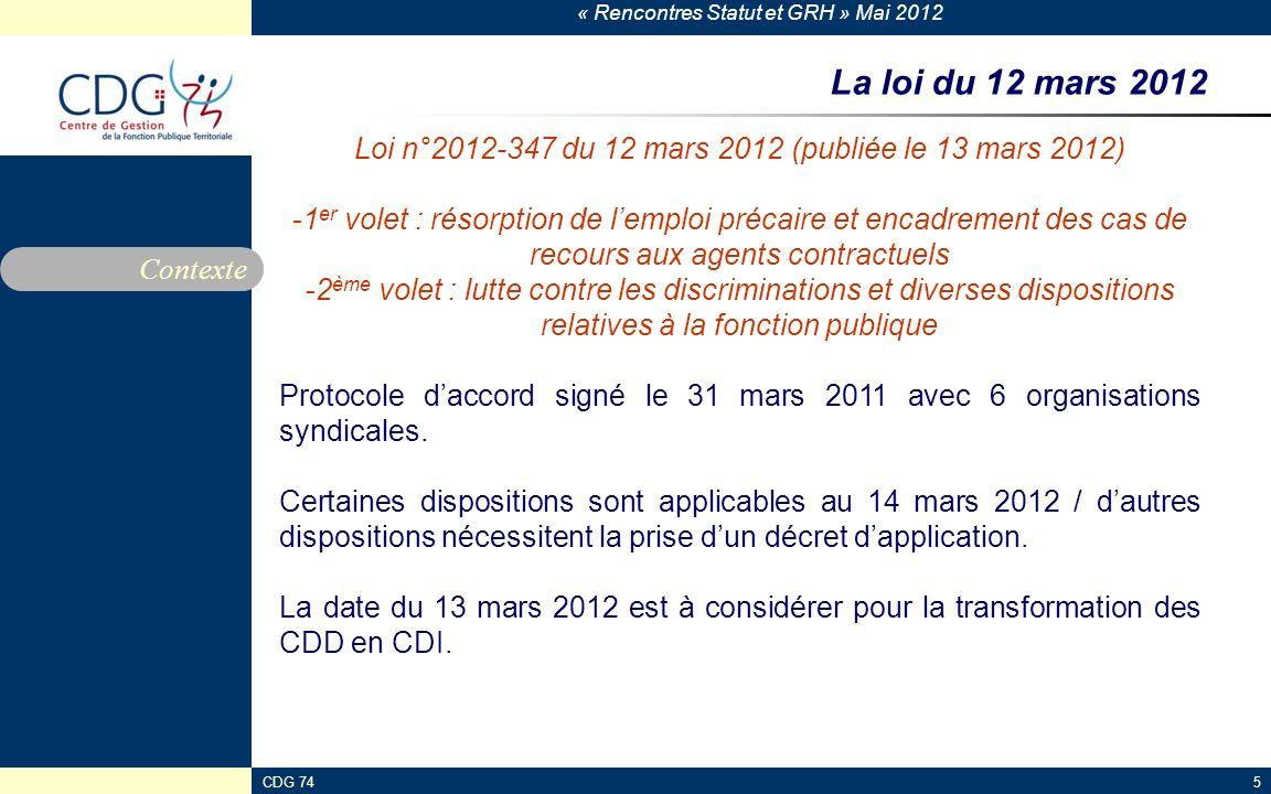 « Rencontres Statut et GRH » Mai 2012 CDG 745 La loi du 12 mars 2012 Contexte Loi n°2012-347 du 12 mars 2012 (publiée le 13 mars 2012) - -1 er volet :