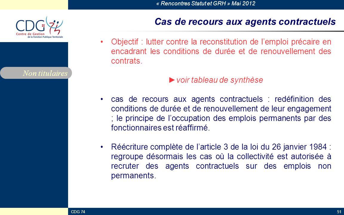 « Rencontres Statut et GRH » Mai 2012 CDG 7451 Cas de recours aux agents contractuels Objectif : lutter contre la reconstitution de lemploi précaire e