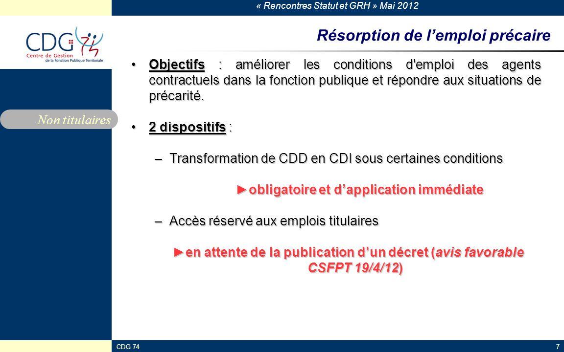 « Rencontres Statut et GRH » Mai 2012 CDG 747 Résorption de lemploi précaire Objectifs : améliorer les conditions d'emploi des agents contractuels dan