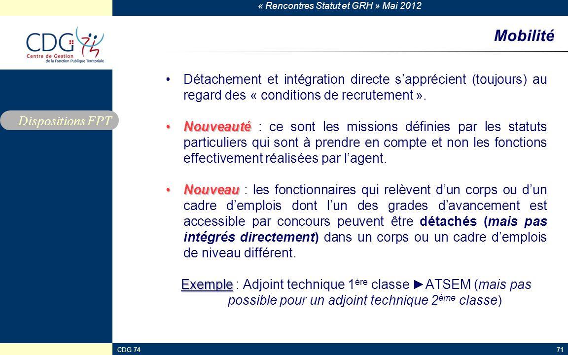 « Rencontres Statut et GRH » Mai 2012 CDG 7471 Mobilité Détachement et intégration directe sapprécient (toujours) au regard des « conditions de recrut