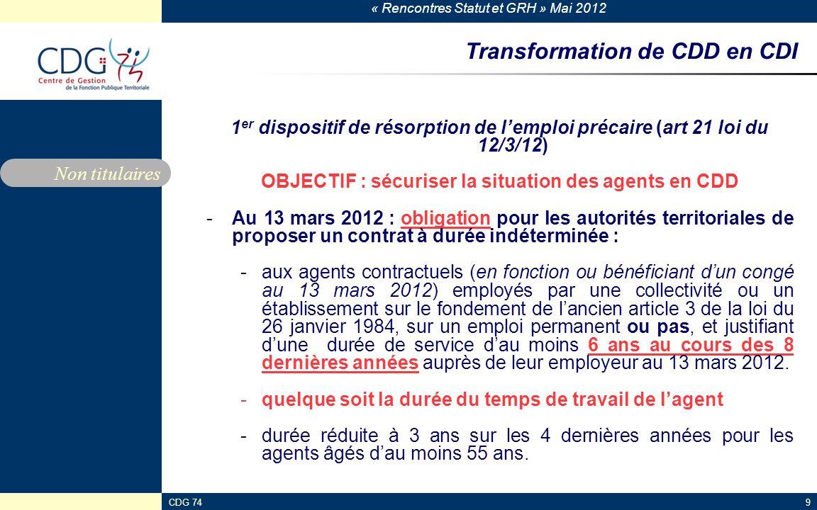 « Rencontres Statut et GRH » Mai 2012 CDG 749 Transformation de CDD en CDI 1 er dispositif de résorption de lemploi précaire (art 21 loi du 12/3/12) O