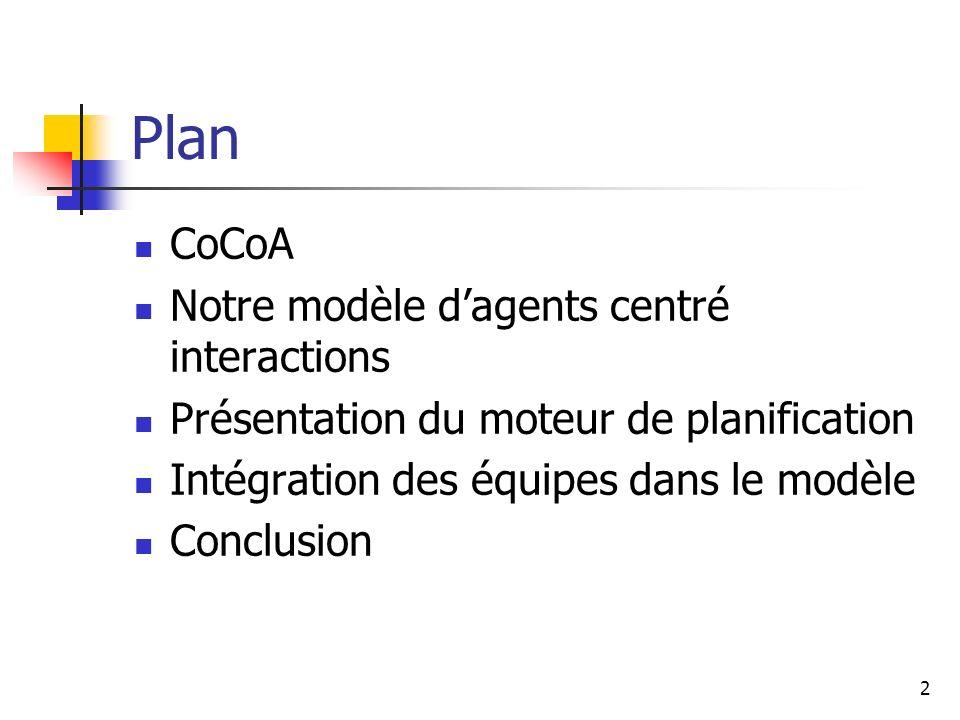 2 Plan CoCoA Notre modèle dagents centré interactions Présentation du moteur de planification Intégration des équipes dans le modèle Conclusion